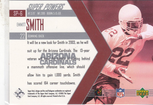 2003 upper deck super powers emmitt smith rb cardinals
