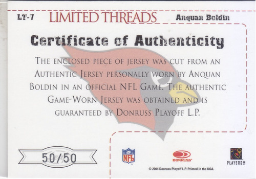 2004 leaf limited jersey autografo anquan boldin 50/50 cards