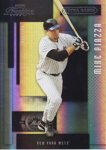 2004 prestige xtra bases black mike piazza mets /75