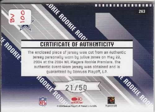 2004 rs rookie jersey autografo julius jones 21/50 cowboys
