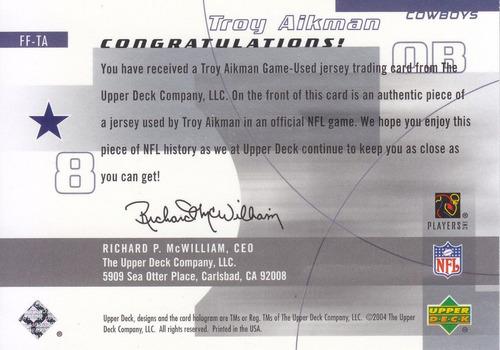 2004 upper deck finite jersey troy aikman qb cowboys