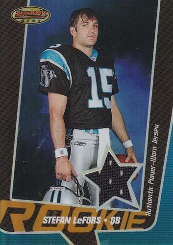 2005 bowman's best rookie jersey stefan lefors qb panth /99