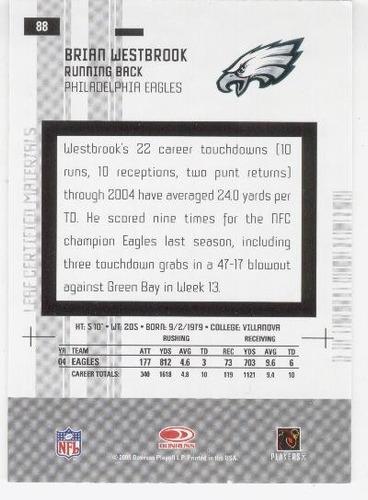 2005 certified materials brian westbrook philadelphia eagles
