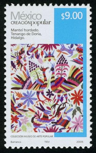 2005 creación popular mantel bordado $9 hidalgo  mnh