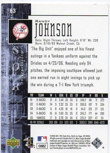 2005 spx randy johnson n. y. yankees pitcher