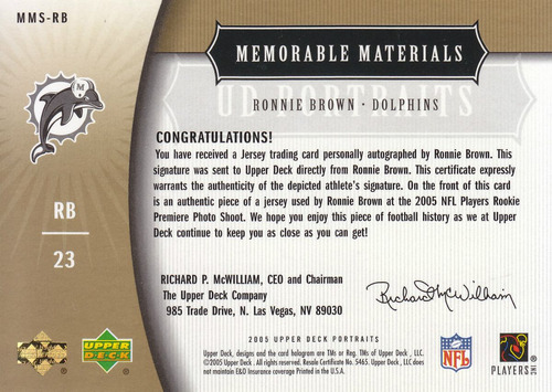 2005 ud portraits jersey rookie autografo ronnie brown 13/15