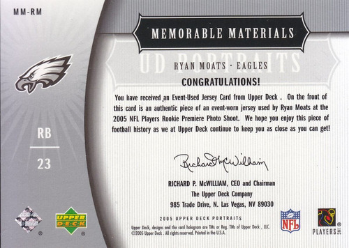 2005 ud portraits jersey ryan moats rb eagles