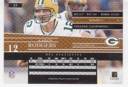 2006 playoff prestige aaron rodgers green bay packers