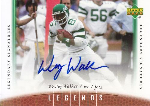 2006 upper deck legends hof autografo wesley walker wr jets