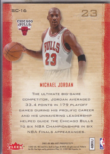 2007-08 fleer hot prospects supreme court michael jordan chi