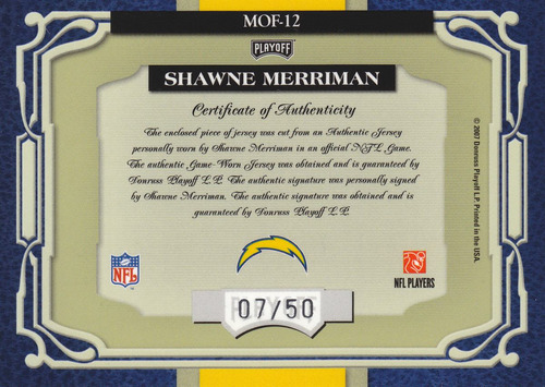 2007 absolute jersey autografo shawne merriman 7/50 chargers