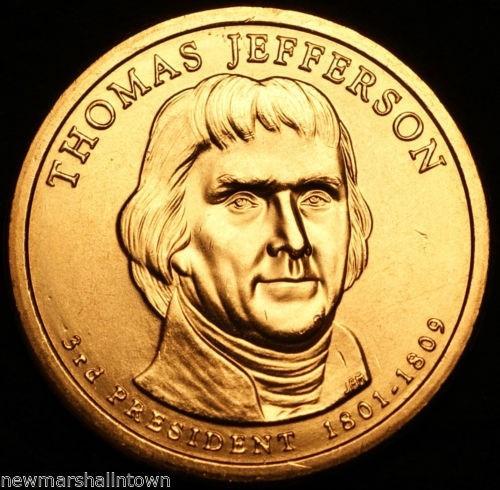 2007-d dolar conmemorativo presitendes de usa thomas jeffers