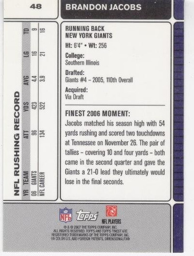 2007 finest brandon jacobs new york giants