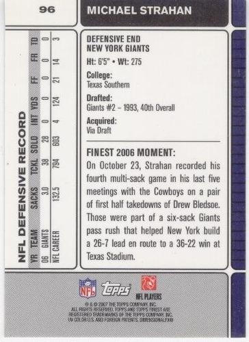 2007 finest michael strahan new york giants