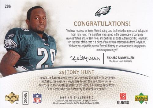 2007 sp authentic patch autografo tony hunt eagles 15/25