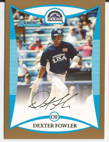 2008 bowman draft prospects rc gold dexter fowler rockies
