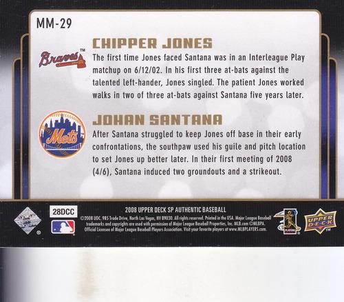 2008 sp authentic m matchups chipper jones johan santana