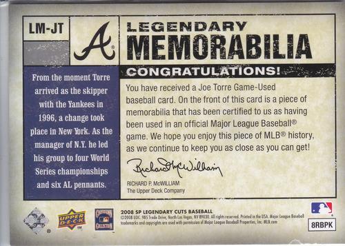 2008 sp legendary cuts jersey joe torre 10/50 braves yankees