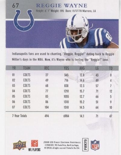 2008 ud first edition reggie wayne indianapolis colts