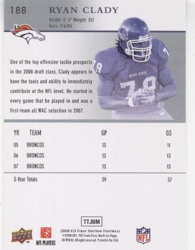 2008 ud first edition ryan clady rookie broncos