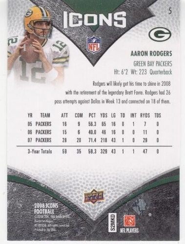 2008 upper deck icons aaron rodgers green bay packers