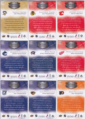 2009-10 upper deck captain's calling 9 cards set