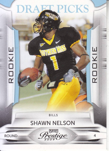 2009 prestige blue rookie shawn nelson te bills /999