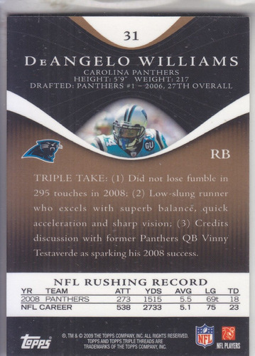 2009 topps triple threads gold deangelo williams car 1/99