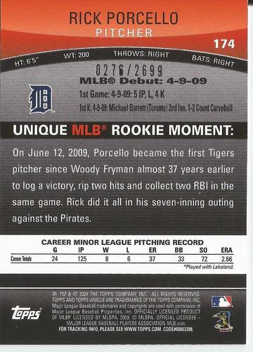 2009 topps unique rookie 276/2699 rick porcello p tigers
