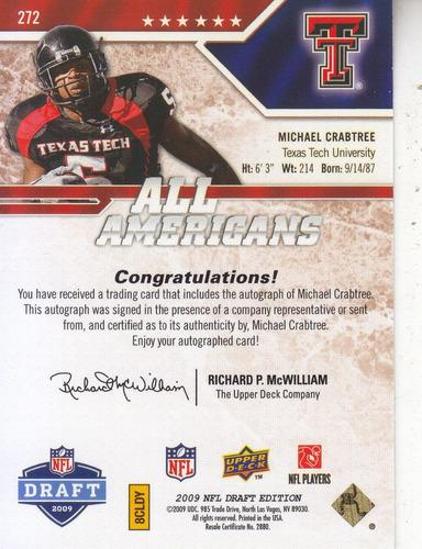 2009 ud draft rookie autografo michael crabtree wr 24/25