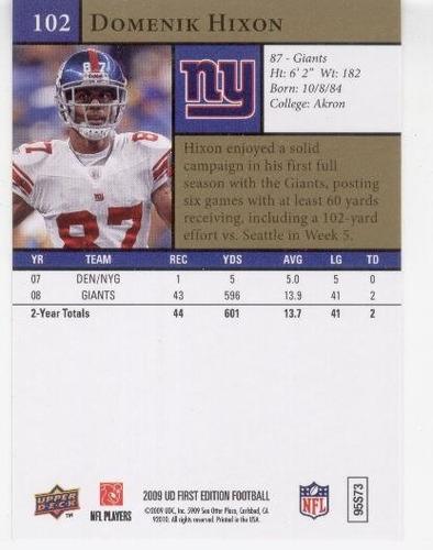 2009 ud first edition domenik hixon new york giants