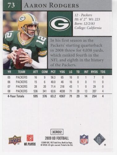 2009 upper deck aaron rodgers green bay packers qb