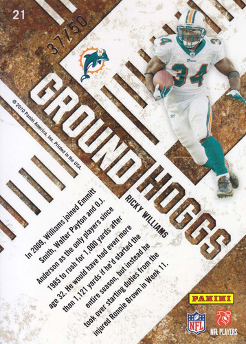 2010 absolute ground hoggs ricky williams rb dolphins 37/50
