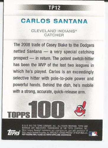 2010 bowman topps 100 prospects rc carlos santana c indians