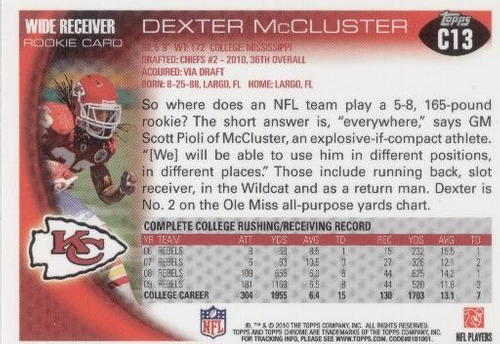 2010 topps chrome dexter mccluster rookie chiefs rb