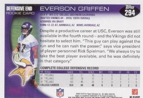 2010 topps everson griffen rc minesota vikings