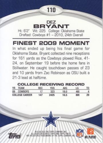 2010 topps finest rookie dez bryant wr cowboys