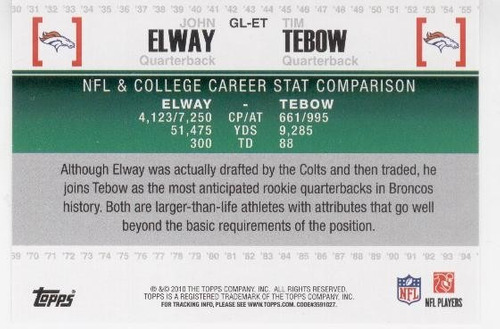 2010 topps gridiron lineage john elway tim tebow rookie