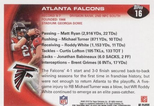 2010 topps team atlanta falcons