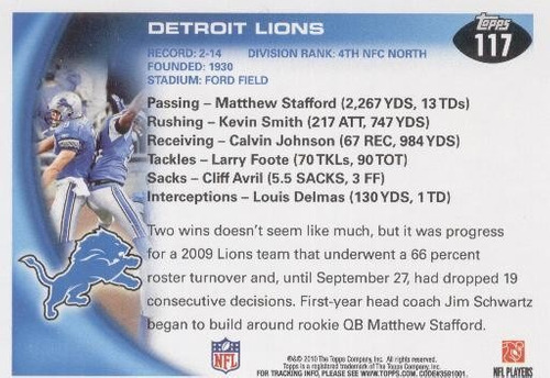 2010 topps team mathew stafford detroit lions