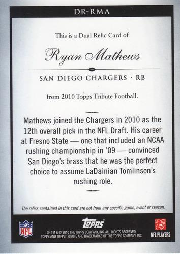 2010 topps tribute dual jersey rookie ryan mathews rb /5