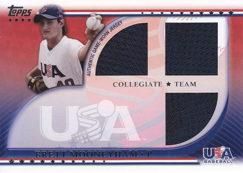 2010 usa baseball rookie 3x jersey brett mooneyham nationals
