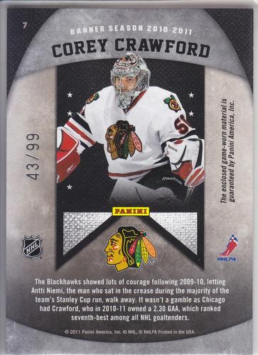 2011 - 2012 limited banner season jersey corey crawford /99