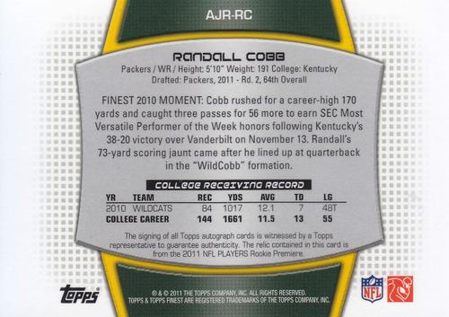 2011 finest rookie jersey autografo randall cobb wr 045/589