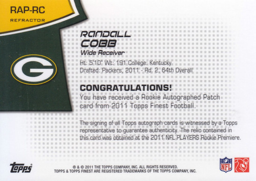 2011 finest rookie patch autografo randall cobb wr 74/99
