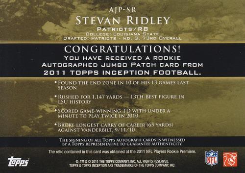 2011 inception jumbo patch autografo rc stevan ridley 69/599