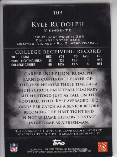 2011 inception rookie autografo kyle rudolph /99 vikings