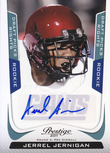 2011 prestige rookie autografo jerrel jernigan giants /499