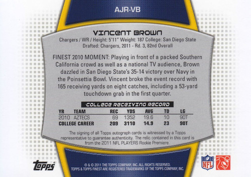 2011 rookie jersey autografo vincent brown 9/589 wr chargers