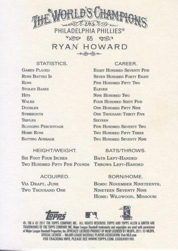 2011 topps allen & ginter's ryan howard phillies